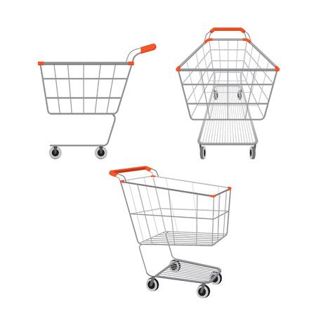 empujando: Vacíos carritos de la compra establecido, mercancías, alimentos, bebidas, belleza, estilo de vida Vectores