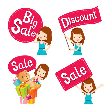Cute girl with sale banners set, goods, food, beverage, beauty, lifestyle