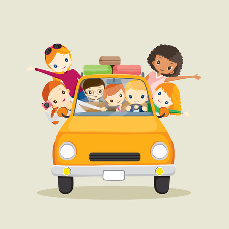 sunglasses cartoon: People on car driving to travel, journey trips, adventure, transportation