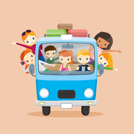 cute teen girl: People on van driving to travel, journey trips, adventure, transportation