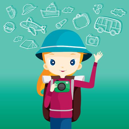 Backpacker girl holding camera, journey trips, adventure, transportation