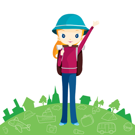 bag cartoon: Backpacker girl and outline travel icons, journey trips, adventure, transportation