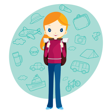 Backpacker girl and travel outline icons background, journey trips, adventure, transportation