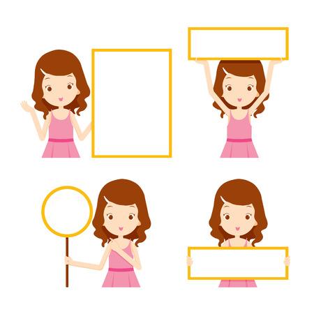 chicas de compras: Chica en vestido rosa mostrando signos en blanco establecidos, belleza, moda, estilo de vida de la mujer, el concepto