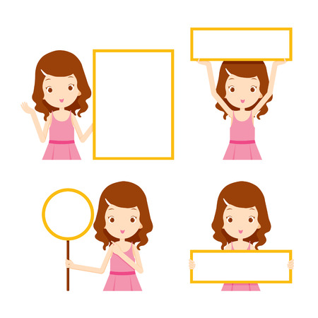blank sign: Girl in pink dress showing blank signs set, beauty, fashion, woman lifestyle, concept Illustration