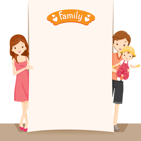 family relationships: Couple And Baby With Blank Sign, Family, Relationship, Togetherness, Cheerful, Lifestyle Illustration