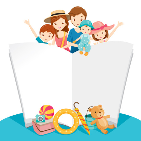 family holiday: Happy Family With Summer Trip and Notebook, Vacations, Holiday, Travel Destination, Relationship, Journey Trips, Lifestyle Illustration
