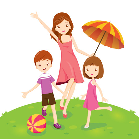 Mother, Son And Daughter Enjoying In Park, Vacations, Holiday, Relationship, Cheerful, Togetherness, Lifestyle