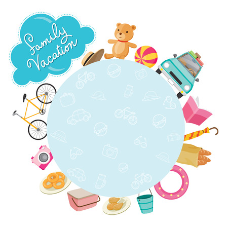 cartoon doll: Family Vacation Objects Icons on Round Frame, Vacations, Holiday, Relationship, Cheerful, Togetherness, Lifestyle