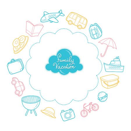 family holiday: Family Vacation Objects Outline Icons, Vacations, Holiday, Relationship, Cheerful, Togetherness, Lifestyle