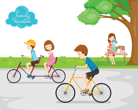 family illustration: Family Relaxing in Public Park, Vacations, Holiday, Travel Destination, Journey Trips, Transportation, Relationship, Togetherness, Lifestyle Illustration