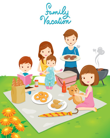 Familie picknick in het openbare park, Vakanties, Vakantie, eten, Relatie, Saamhorigheid, Lifestyle