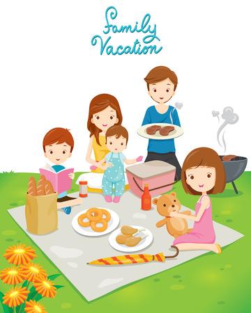 family picnic: Picnic familiar en el parque público, Vacaciones, vacaciones, Comer, Relación, Unión, Estilo de Vida
