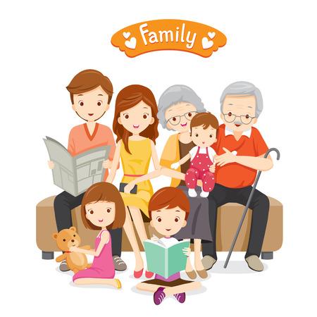 Glückliche Familie sitzt auf dem Sofa und Boden, Beziehung, Zusammenhalt, Urlaub, Urlaub, Lifestyle