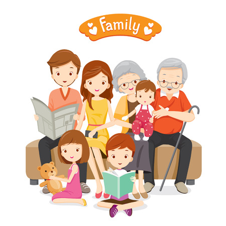 Szczęśliwa rodzina siedzi na kanapie i piętro, związku, wspólnoty, wakacje, wakacje, styl życia