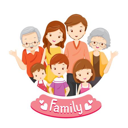 family: Retrato feliz da família, relacionamento, União, Férias, Holiday, Estilo de vida Ilustração