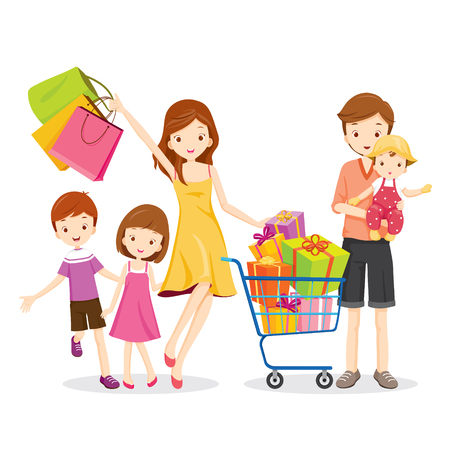 niños de compras: Familia de compras y caja de regalo en la cesta de la compra, mercancías, Celebración, estilo de vida, relación, Unión Vectores