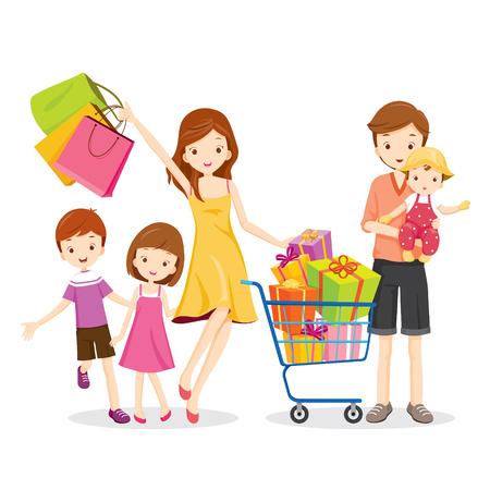 Family Shopping und Gift Box in Einkaufswagen, Waren, Feiern, Lebensstil, Beziehung, Zusammenhalt Vektorgrafik