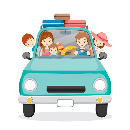 familj: Familj på bilkörning till resa, semestrar, semester, Resor, Journey resor, Transportfordon Illustration