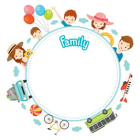 Urlaub Familie Objekte auf Round-Rahmen, Urlaub, Urlaub, Reiseziel, Reise Reisen, Transport