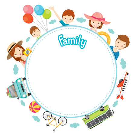 Family Vacation Objects on Round Frame, Vacations, Holiday, Travel Destination, Journey Trips, Transportation Vectores