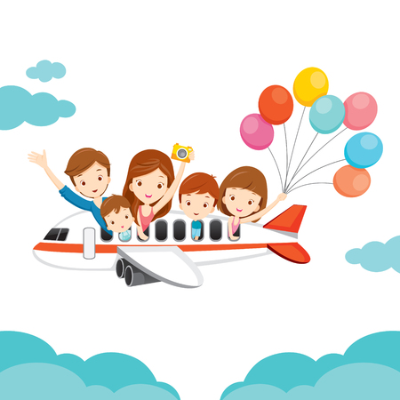 airplane: Family Happy on Airplane, Vacations, Holiday, Travel Destination, Journey Trips, Transportation Illustration