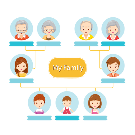 family man: Happy Family Tree, Relationship, Togetherness, Infographic, Diagram, Lifestyle Illustration