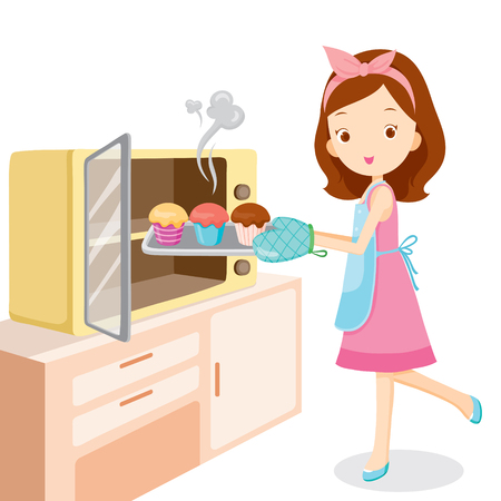Girl Baking Cupcake, Kitchen, Kitchenware, Crockery, Cooking, Food, Bakery, Occupation, Lifestyle 일러스트