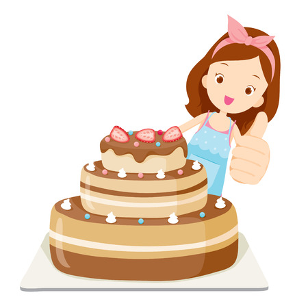 layer cake: Big Cake With Girl Thump Up, Kitchen, Kitchenware, Crockery, Cooking, Food, Bakery, Occupation, Lifestyle Illustration