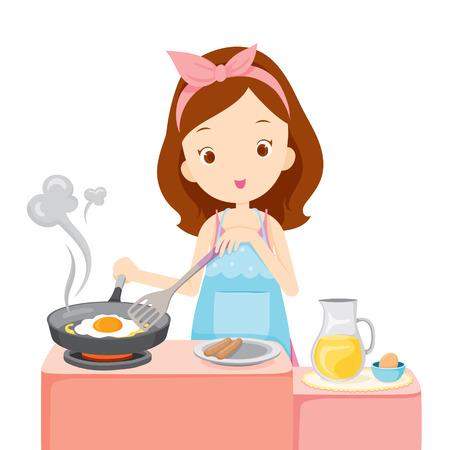 cocina caricatura: Muchacha que cocina el huevo frito para el desayuno, Menaje de cocina, vajilla, cocina, comida, panadería, Oficio, Estilo de Vida