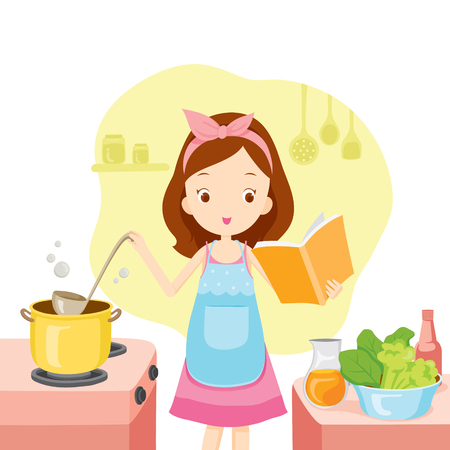 kitchen  cooking: Girl Cooking Soup With Cookbook, Kitchen, Kitchenware, Crockery, Cooking, Food, Bakery, Occupation, Lifestyle