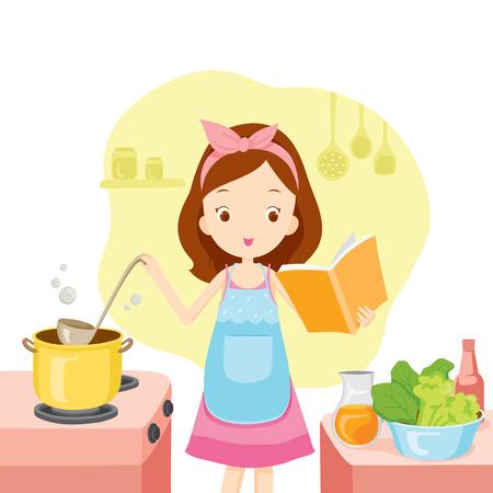 cocina caricatura: Muchacha que cocina Sopa Con libro de cocina, Cocina, Utensilios de cocina, vajilla, cocina, comida, panader�a, Oficio, Estilo de Vida