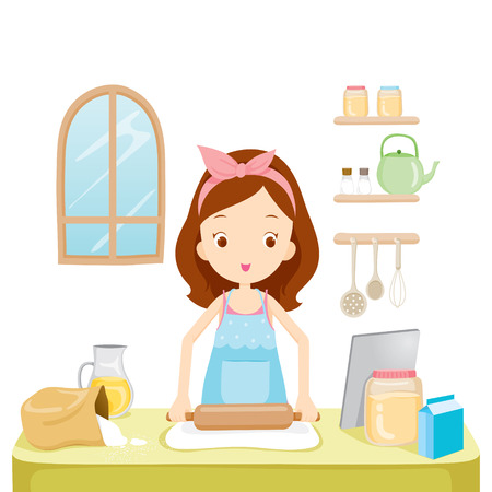 Girl Thresh Flour With TabLet, Kitchen, Kitchenware, Crockery, Cooking, Food, Bakery, Occupation, Lifestyle