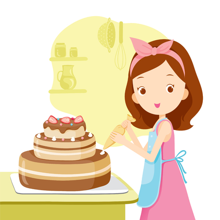Girl Making Cake, Kitchen, Kitchenware, Crockery, Cooking, Food, Bakery, Occupation, Lifestyle