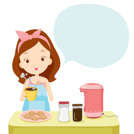crockery: Girl Making Coffee With Talk Bubble, Kitchen, Kitchenware, Crockery, Cooking, Food, Bakery, Occupation, Lifestyle