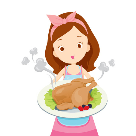 preparing food: Girl Showing Roast Chicken On Dish, Kitchen, Kitchenware, Crockery, Cooking, Food, Bakery, Occupation, Lifestyle