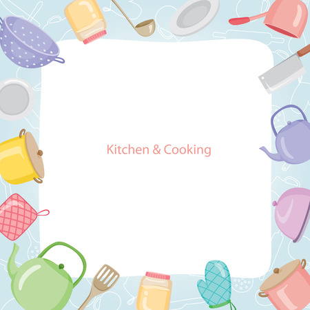 kitchen equipment: Kitchen Equipment Border, Kitchen, Kitchenware, Crockery, Cooking, Food, Bakery, Lifestyle Illustration