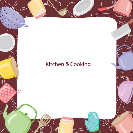 Kitchen Equipment Border, Kitchen, Kitchenware, Crockery, Cooking, Food, Bakery, Lifestyle Vetores