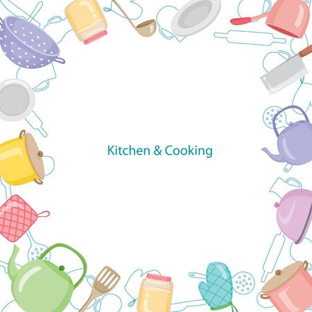 Kuchnia wyposażenie granica, kuchnia, przybory kuchenne, sztućce, gotowanie, jedzenie, piekarnia, styl życia Ilustracje wektorowe