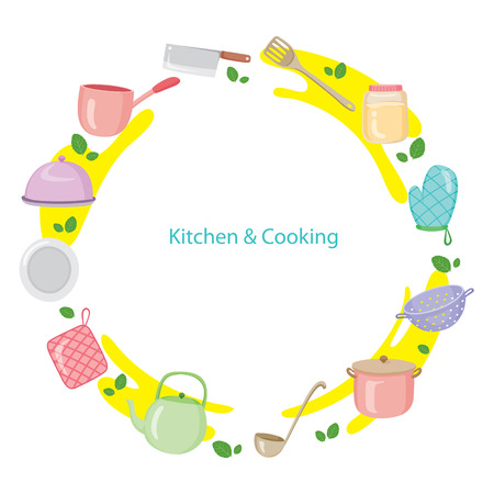 crockery: Kitchen Equipment On Circle Frame, Kitchen, Kitchenware, Crockery, Cooking, Food, Bakery, Lifestyle