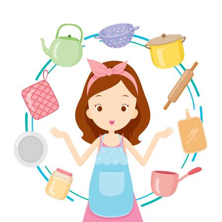Mädchen mit Küchengeräte, Küche, Küchenutensilien, Geschirr, Kochen, Lebensmittel, Bäckerei, Lifestyle Standard-Bild - 54343675