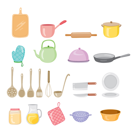 Kitchen Equipment Icons Set, Kitchen, Kitchenware, Crockery, Cooking, Food, Bakery, Lifestyle Vetores