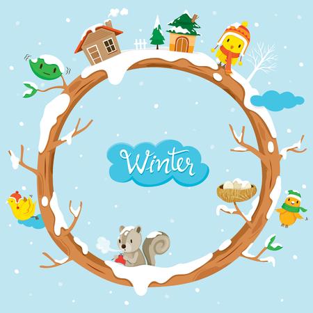Arbre Cercle Avec Maisons, Faune Et Neige, Hiver, Saison, Frame, Nature, Objet