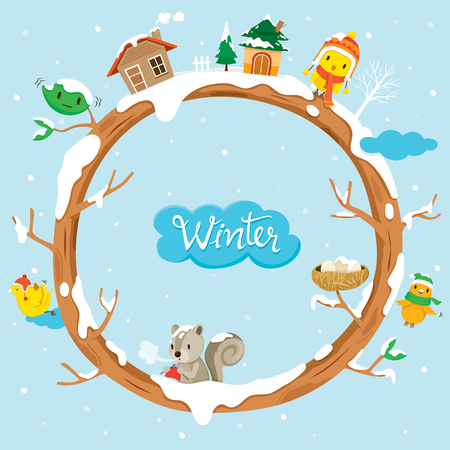 Circle Tree With Houses, Animal And Snow, Winter, Season, Frame, Nature, Object