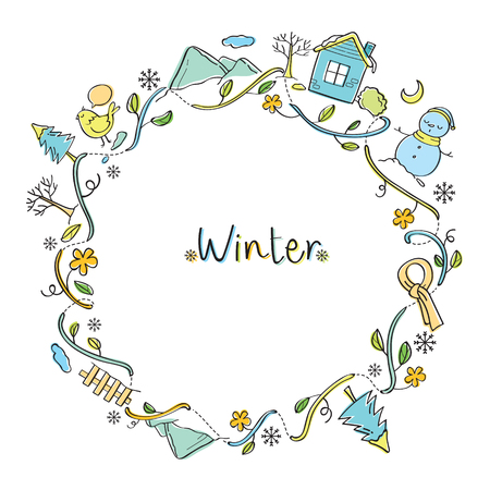 tree outline: Winter Objects On Round Frame, Winter, Season, Frame, Nature, Object