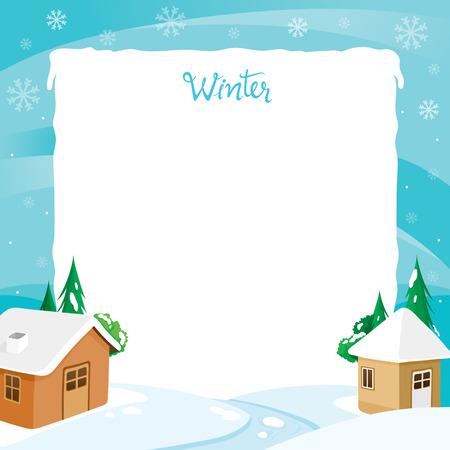 Frontera de la casa con la nieve y el río, paisaje, invierno, estación, edificio, al aire libre Ilustración de vector