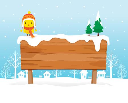 letrero: En señal de madera amontonada, paisaje, invierno, estación, edificio, al aire libre