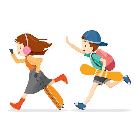 Boy y niña de viajar, Actividad, viaje, invierno, estación, vacaciones