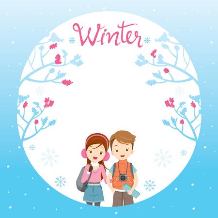 Couple Travelling On Border, Activity, Travel, Winter, Season, Vacation Vector Illustration