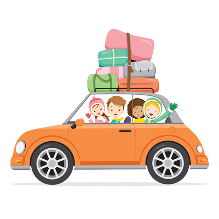 cartoon land: Boy And Girls Driving Car To Travel, Activity, Travel, Winter, Season, Vacation